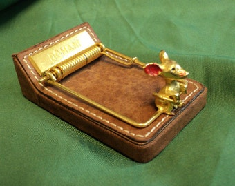 Vintage leather paperweight w mouse