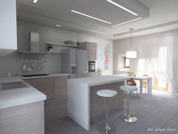 Articoli simili a progetto arredamento di interni cucina for Progetti design interni