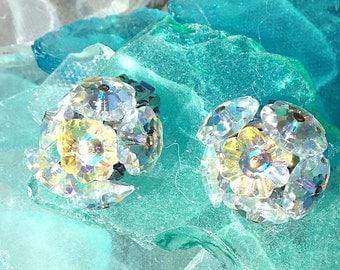 Vintage Aurora Borealis Clear Multicolor Crystal Flower Bead Cluster Earrings