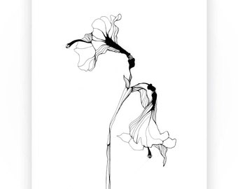 """Different Lillies, Black and White Art Print, Flower Art,Ink Drawing, 8.3"""" x 11.7"""""""