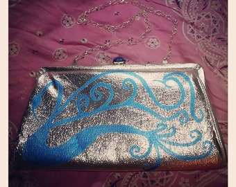 Blue Swan on Silver Purse