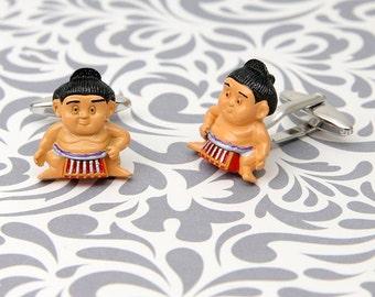 Sumo Wrester Fighter Asian Cufflinks