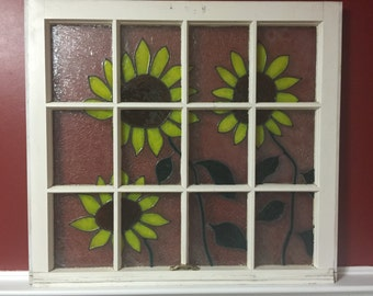 """Hand Painted Sunflowers on Window 30"""" wide x 28"""" tall"""