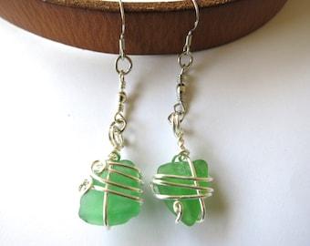 Green sea glass long dangle earrings wrapped in silver wire, beach glass earrings
