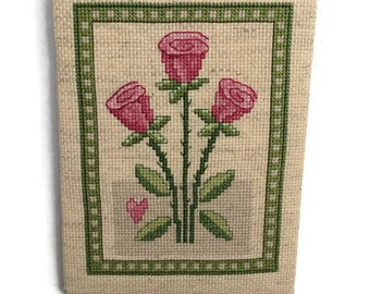 Completed Cross Stitch-Finished Cross Stitch-Handmade-Ready to Frame-Finished Product-Cross Stitch-Pink roses