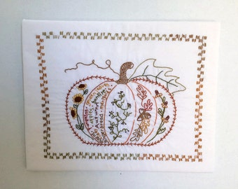 Completed Embroidery-Finished Embroidery-Finished Product-Fall Embroidery-Pumpkin Embroidery-Ready to Frame-Autumn-Harvest-Pumpkin