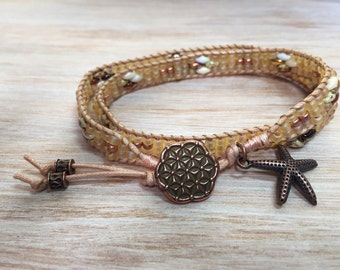 Leather Cord Double Wrapped Bracelet