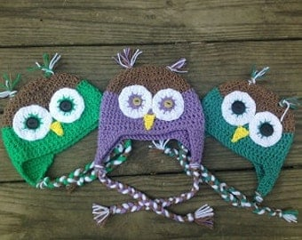 Crochet Owl Hat with braided ties