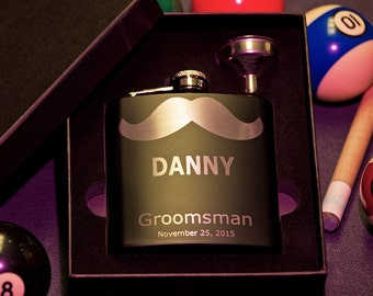 Flask in Gift Box, Personalized Groomsman Mustache Flask, Custom Engraved Gift, Wedding Flask with Funnel, Bachelor Party, Groomsmen