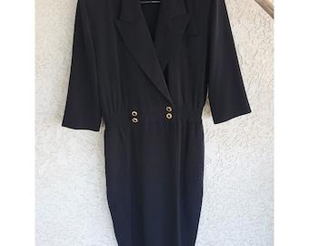 MS Chaus: Vintage 80s black polyester lapel tuxedo dress