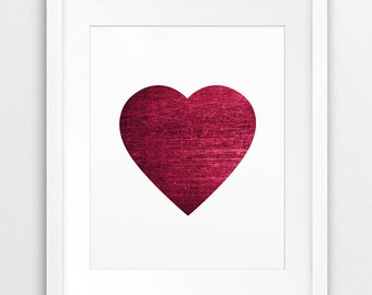 Heart Print, Abstract Heart Wall Art, Love Heart Red Bordo Texture, Modern Wall Art, Home Office, Wedding Decor, Instant Download, Printable