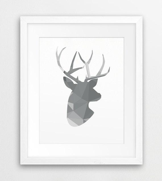 Geometric Purple Deer Wall Art Print Modern Poster Buck: Deer Printable Art Deer Antlers Print Geometric Animals