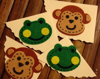 Handmade Bookmark Monkeys and Frogs oh my 4 in set