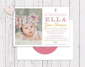 Pink Girl Christening Baptism Invitation | Orange Green | Free Colour Changes | Printed On Luxury Cardstock