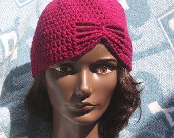 Crochet Fuchsia Butterfly Hat- Women's Hats- Hats-Winter Hats-Fall Hats.