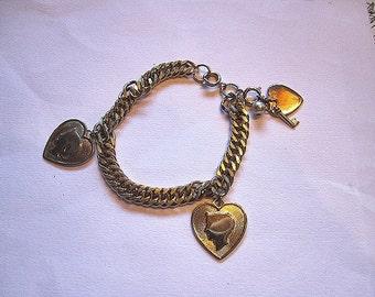Vintage Engagement Going Steady Bracelet Heart Charm