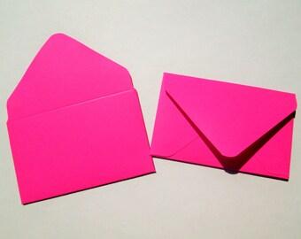 Hot Pink Fuchsia Gift Card Envelopes, Gift Card Holder, Mini Envelopes, Small Envelopes, Business Card Holder Handmade, Set of 25 or 100