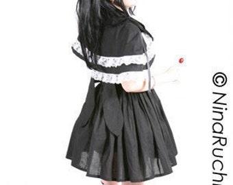 Gothic Lolita Dress - Sweet Lolita Dress - Goth Loli Dress - Goth Dress - Cosplay Dress - Gothic Dress - Black Dress - Black Capelet _Custom