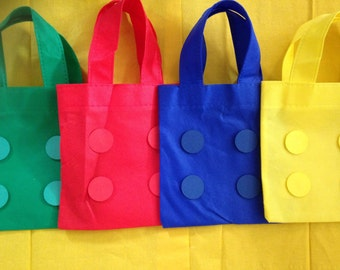 Fabulous brightly coloured Lego inspired bags