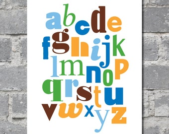 Alphabet in Orange, Blue, Green and Brown (8x10) DIGITAL FILE