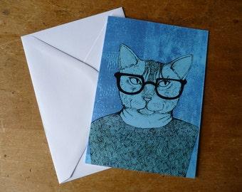 Cat in glasses Greetings Card