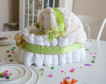Mint green and gold Stroller Cloth Diaper Cake