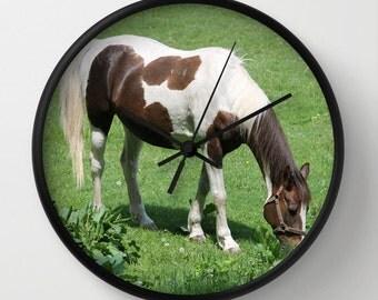 Horse in Spring Field, Photo Wall Clock, Modern Wall Clock,Retro Clock, Home Decor,Round Clock,Animal Clock,Home Accessories,Interior Design
