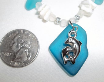 Teal and Aqua Sea Glass, Shell & Polymer Clay Dolphin Charm Necklace