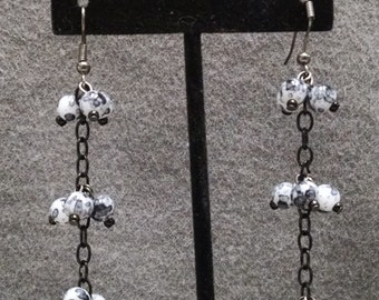 Black and White Spotted Dangles by Sparrow Sku 04
