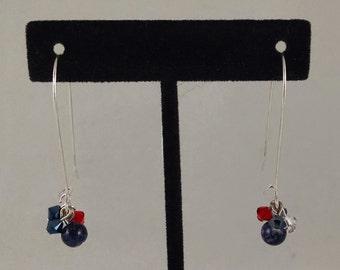 Red, White, and Blue Swarovski Crystal Dangles by Sparrow  Sku 33