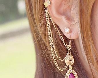 Gemstone Dangle Chain Ear cuff