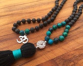 108 Bead Mala Meditation Necklace, Black Lava Stone & Hamsa Mala with Silver Om Charm