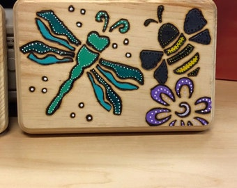 Handmade Spring Wood burning piece with a Splash of Color