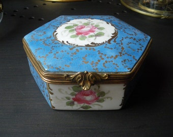 Vintage Unmarked Sevres Type Porcelain Box with Hand Painted flower rose 1930s 1940s