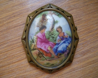 Vintage Brooch - Limoges Hand Painted Pin - Romantic