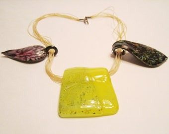 Dichroic or Murano 3 Handmade Glass Lampwork Pendants and 1 Necklace