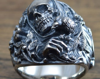 Skull Cross Bird Ring,delicate hand carving,925 Solid,Sterling Silver