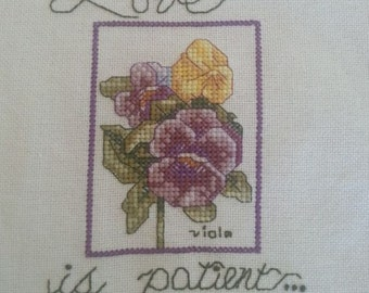 Love, love is patient, anniversary gift, wedding, home decor, inspirational quote, counted cross stitch, bible verse, love quotes, 1 Cor. 13