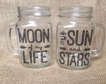 Mason Jar Quote SET of 2: Moon of my Life, My Sun and Stars, Moon of my Life mason jar, My Sun and Stars mason jar