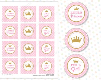 Princess Cupcake topper (INSTANT DOWNLOAD) - Princess tags - Little Princess baby shower - Printable tags - Princess stickers MU002