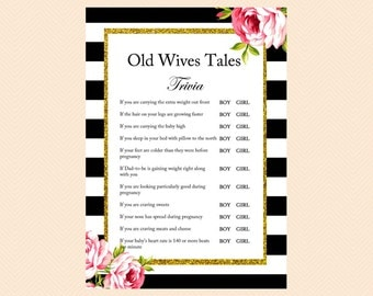 Old Wives Tales Gender Reveal Game, Gold Glitter, Floral Shabby Chic Printable Baby Shower Games, Black White Baby Shower Games TLC04