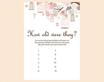 How old were they, How old was the Bride and Groom, Guess the Ages, Bridal Shower Game Printables, Bachelorette, Wedding Shower Games BS42