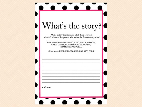 Whatu0027s The Story, Write A Story, Funny Story Game, Black Dots Bridal Shower  Games, Bachelorette Games, Wedding Shower Games BS24