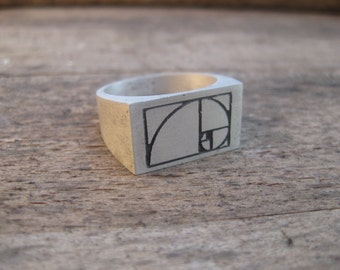 Spiral - Golden Ratio / Fibonacci Sequence - 3D printed, silver chunky signet ring for men - Cast using lost PLA - Handmade in UK