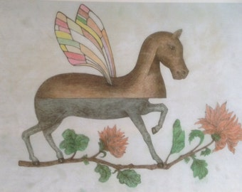 Fairy Horse, (my sketch of an unknown artist's painting)