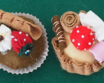 GREEDY PASTRIES.FELT.A great prize!!Irresistible. (hand made)