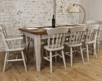 6Ft Solid Character Oak Tapered Leg Farmhouse Dining Table with 8 Painted Chairs Pine Farrow and Ball
