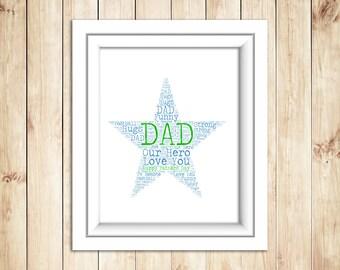 Dad Word Art Star