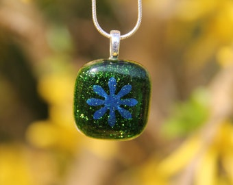 Green sparkly glass pendant with dichroic flower,  dichroic glass necklace