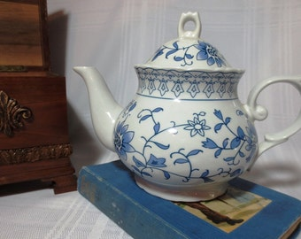 White Tea Pot with Blue Floral Pattern